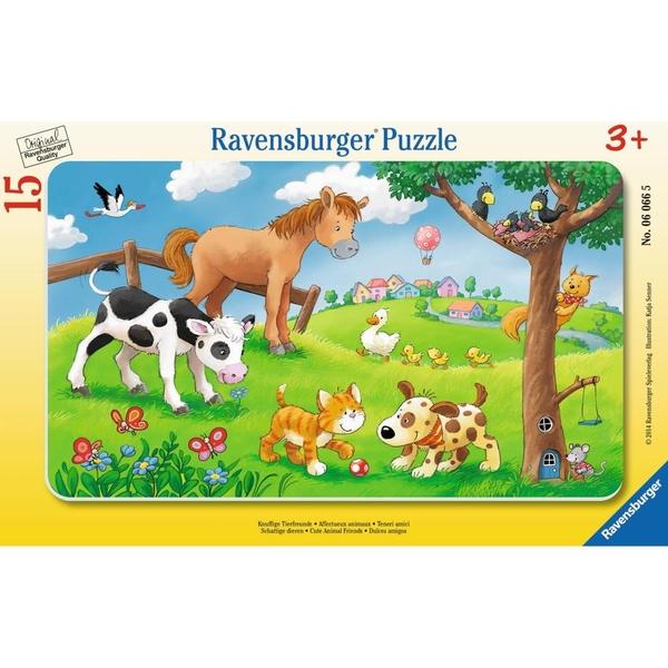Ravensburger - Rahmenpuzzle: Knuffige Tierfreunde, 15 Teile