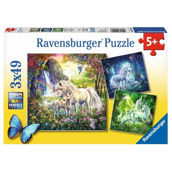 Ravensburger - Puzzle: Schöne Einhörner, 3x49 Teile