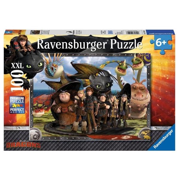 Ravensburger - XXL Puzzle Dragons: Ohnezahn und seine Freunde, 100 Teile