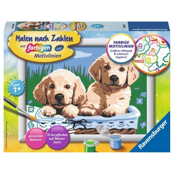 Ravensburger - Malen nach Zahlen: Süße Hundewelpen