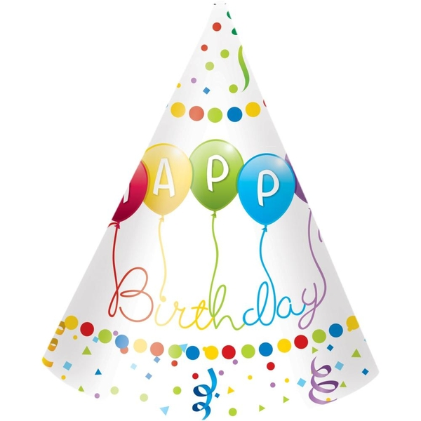 Procos - Happy Birthday Streamers, 6 Partyhüte