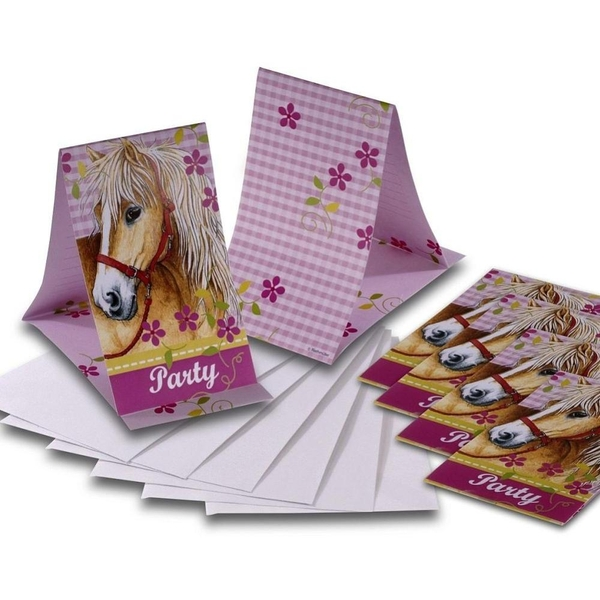 Pferde Einladungskarten, 6 Stück