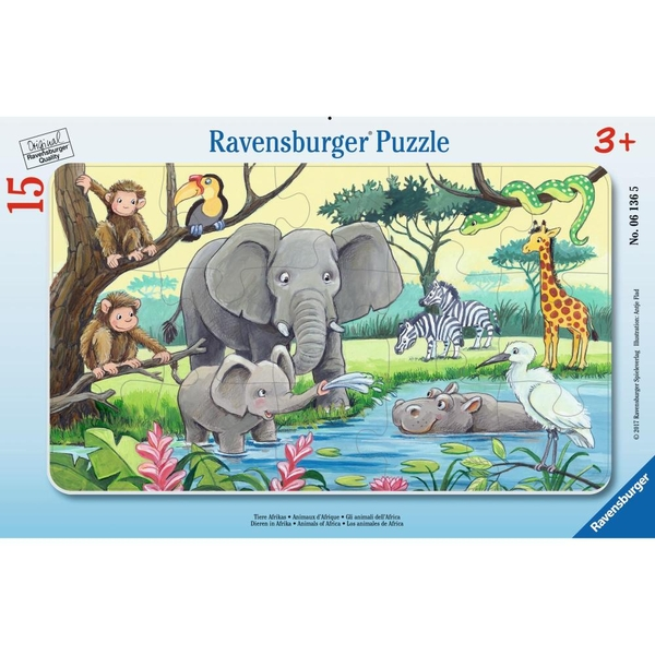 Ravensburger - Rahmenpuzzle: Tiere Afrikas, 15 Teile