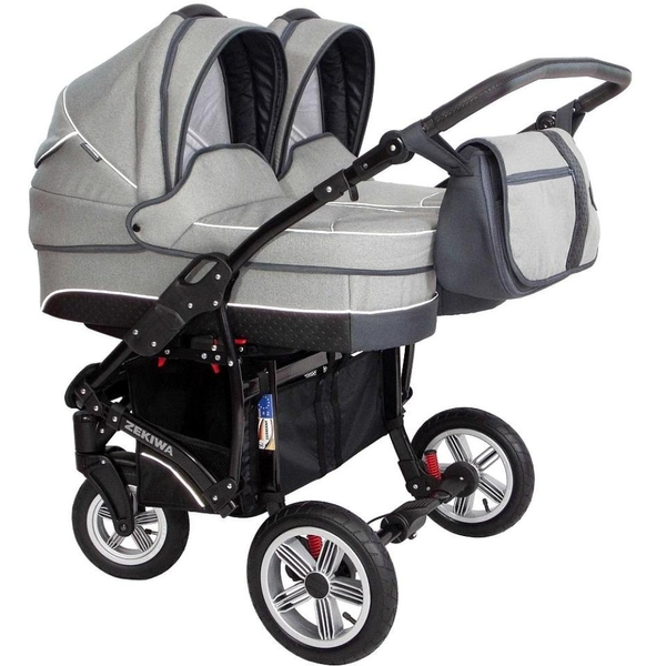 ZEKIWA - Zwillingswagen Sport Duo New Line, Light Grey