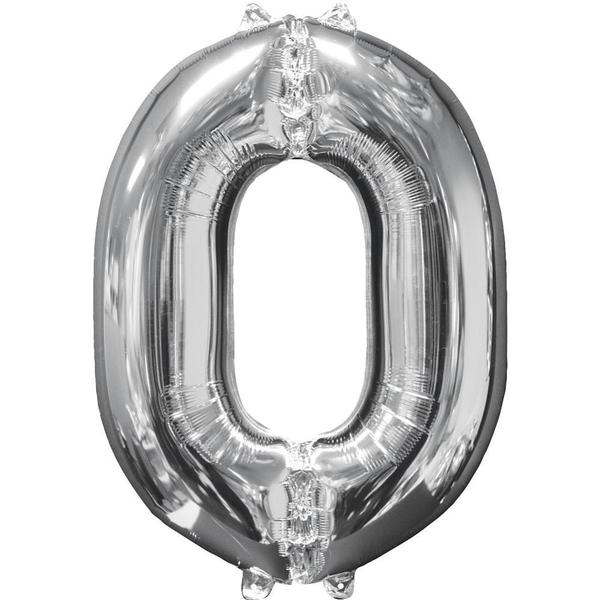 Amscan - Folienballon Zahl 0, silber