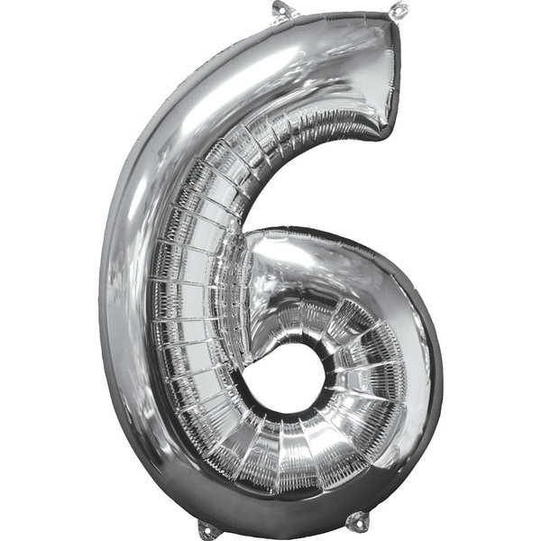 Amscan - Folienballon Zahl 6, silber