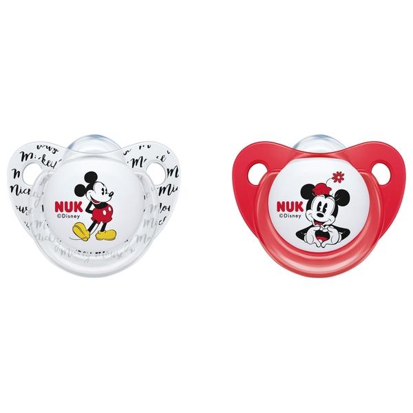 NUK - Schnuller Silikon 2er Pack Mickey Mouse rot/weiß Gr.1