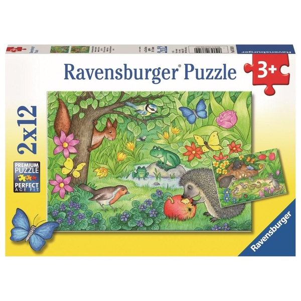 Ravensburger - Puzzle: Tiere in unserem Garten, 2x12 Teile - Puzzles ...