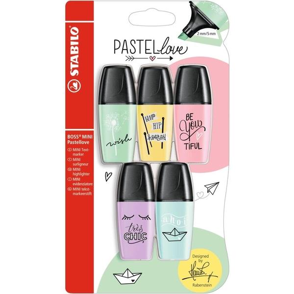 STABILO - BOSS Textmarker: Mini Pastellove, 5-tlg.