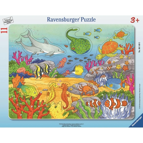 Ravensburger - Rahmenpuzzle: Fröhliche Meeresbewohner, 11 Teile