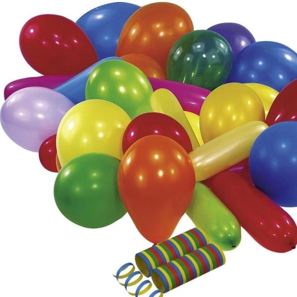 Riethmüller - Latexballons, 25 Stk. + 2 Luftschlangen