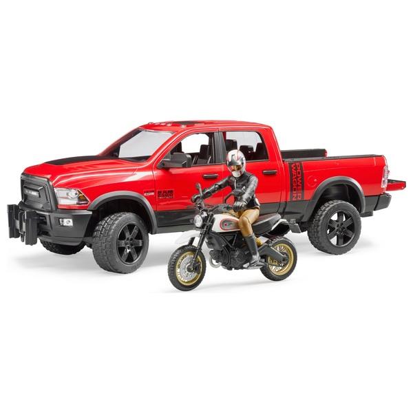 Bruder - RAM 2500 Power Wagon mit Ducati Desert Sled und Fahrer