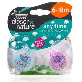 Tommee Tippee Closer To Nature Anytime Orthodontic Soothers 6 - 18 months 2 Pack - Assortment