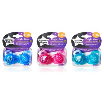 Tommee Tippee Closer To Nature Night Time Orthodontic Soothers 6 - 18 months 2 Pack - Assortment