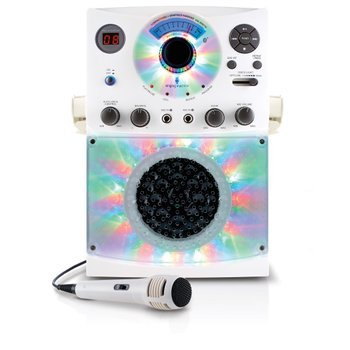 Singing Machine Bluetooth Karaoke System With LED Disco Lights and Microphone White
