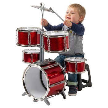 7 Piece Beginner Plastic Red Drum Kit