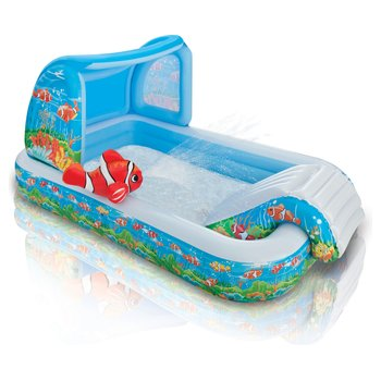 57454 Intex Ocean Play Center Inflatable Sprinkling Paddling Pool Azzurro