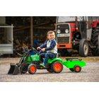 Falk - Traktor mit Frontlader und Anhänger, grün