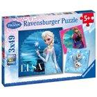 Ravensburger - Puzzle: Disney Eiskönigin - Elsa, Anna und Olaf, 3x49 Teile