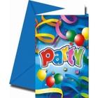 Procos - Party Streamers, 8 Einladungskarten