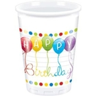 Procos - Happy Birthday Streamers, 8 Plastikbecher