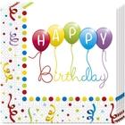 Happy Birthday Streamers - 20 Servietten