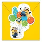 Minions Balloons - 6 Einladungskarten