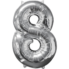 Amscan - Folienballon Zahl 8, silber