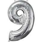 Folienballon Zahl 9, silber